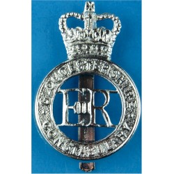 Gloucestershire Constabulary - EiiR Centre Cap Badge with Queen Elizabeth's Crown. Chrome-plated Police or Prisons hat badge