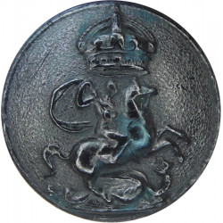 Queen Victoria's Rifles - Pre-1952 25mm - Black with King's Crown. Horn Military uniform button