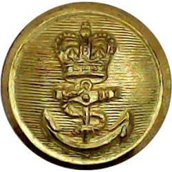Royal Navy - Ratings (Plain Rim) 15.5mm - Post-1952 with Queen Elizabeth's Crown. Gilt Military uniform button