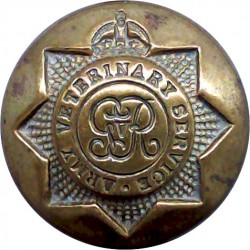 Army Veterinary Service - GvR 25.5mm - 1910-1918 with King's Crown. Brass Military uniform button