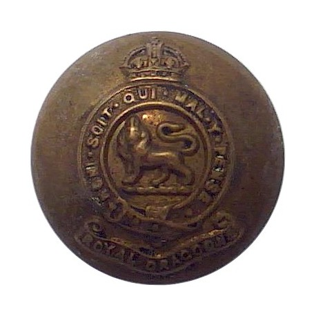 5th Dragoon Guards (Princess Charlotte Of Wales's) 25mm - 1901-1922 with King's Crown. Brass Military uniform button