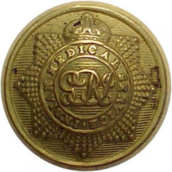 Indian Medical Service - GvR - 1911-1936 19mm - GRI with King's Crown. Gilt Military uniform button