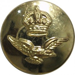 Royal Air Force - For Sidehat 14.5mm - Rare Size with King's Crown. Brass Military uniform button