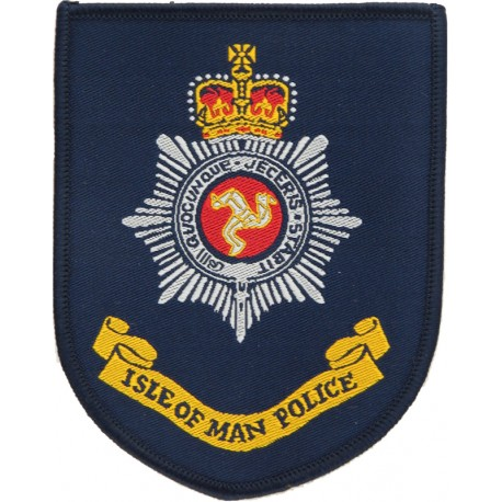Isle Of Man Police 10cm High Shield with Queen Elizabeth's Crown. Woven UK Police or Prison insignia