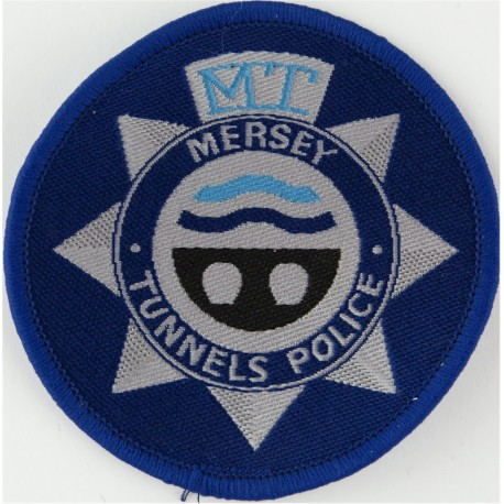 Mersey Tunnels Police Pullover Badge 71mm Diameter Circle  Woven UK Police or Prison insignia