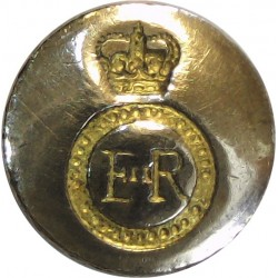 Royal Army Ordnance Corps 14mm Mounted Dome with Queen Elizabeth's Crown. Silver-plate and gilt Military uniform button