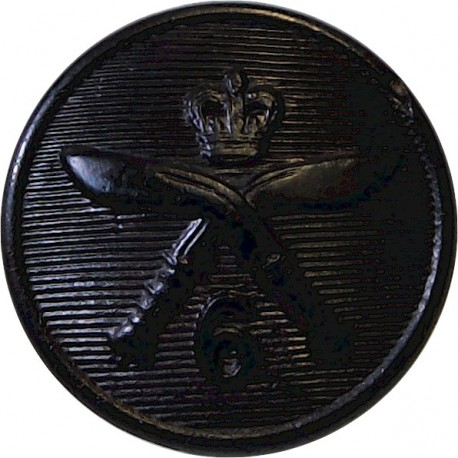 London Irish Rifles 23.5mm - Black with King's Crown. Horn Military uniform button