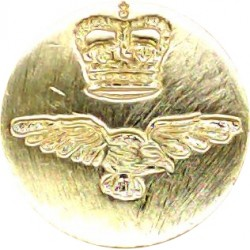 Royal Air Force - Blazer Button 17mm Flat Indented with Queen Elizabeth's Crown. Gilt Military uniform button