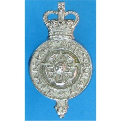 Lancashire Constabulary - Rose Centre Collar Badge with Queen Elizabeth's Crown. Chrome-plated UK Police or Prison insignia