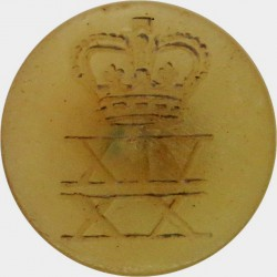 14th/20th King's Hussars - Tropical Pattern Engraved 22mm - Khaki with Queen Elizabeth's Crown. Horn Military uniform button