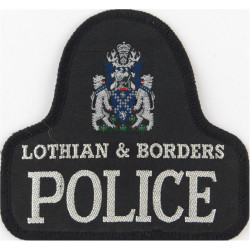 Lothian & Borders Police Pullover Badge Bell Shape + Crest with Queen Elizabeth's Crown. Woven UK Police or Prison insignia