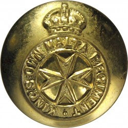 King's Own Malta Regiment 16.5mm with King's Crown. Gilt Military uniform button