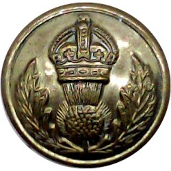 Scots Guards - Officers' Quality 16mm Mounted Dome with King's Crown. Brass Military uniform button