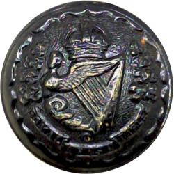 Royal Irish Rifles - 1902-1922 25.5mm - Black with King's Crown. Brass Military uniform button