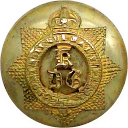 1st The King's Dragoon Guards 18.5mm Mounted Dome with King's Crown. Gilt Military uniform button