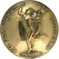 Royal Corps Of Signals (with Lettering) 25.5mm - 1920-1947  Brass Military uniform button
