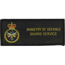 Ministry Of Defence Guard Service Pullover Badge Rectangle With Crest with Queen Elizabeth's Crown. Woven UK Police or Prison in