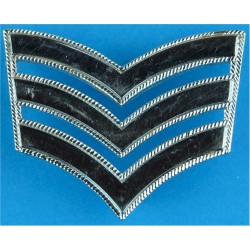 Police Sergeant's Chevrons - With Roped Edges 44mm Wide  Chrome-plated UK Police or Prison insignia