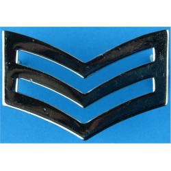 Police Sergeant's Chevrons - Plain Edges 42mm Wide  Chrome-plated UK Police or Prison insignia