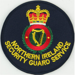 Northern Ireland Security Guard Service Circular Badge with Queen Elizabeth's Crown. Embroidered UK Police or Prison insignia