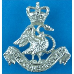 Buckinghamshire Constabulary Collar Badge Swan FR with Queen Elizabeth's Crown. Chrome-plated UK Police or Prison insignia
