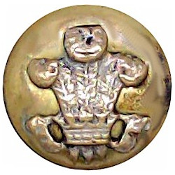 Canada - General Service Button - Painted Green 13mm - 1924-1946 King's Crown. Brass Military uniform button