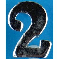 Police Shoulder / Collar Number 2   Chrome-plated UK Police or Prison insignia