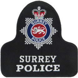Surrey Police Pullover Badge Bell Shape + Crest with Queen Elizabeth's Crown. Woven UK Police or Prison insignia