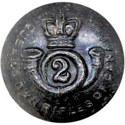 Queen's Own Rifles Of Canada 19mm - Black with Queen Victoria's Crown. Plastic Military uniform button