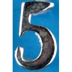 Police Shoulder / Collar Number 5   Chrome-plated UK Police or Prison insignia
