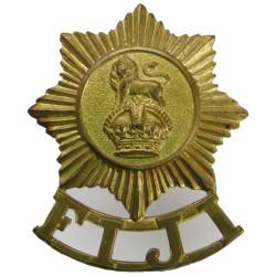 Fiji Infantry Regiment  with King's Crown. Brass Other Ranks' metal cap badge