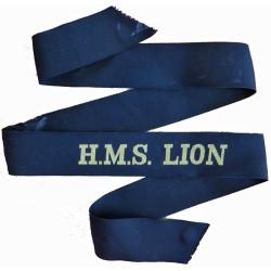 HMS Lion (Tiger-Class Light Cruiser) Cap-Tally 1960-1972  Woven Naval cap badge or cap tally