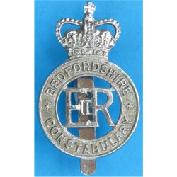 Bedfordshire Constabulary - EiiR Centre Cap Badge Post-1974 with Queen Elizabeth's Crown. Chrome-plated Police or Prisons hat ba