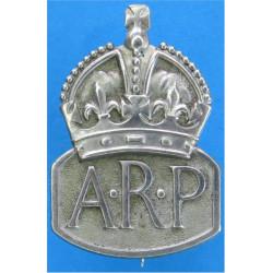 ARP (Air Raid Precautions) Brooch Badge (Female) Marples And Beasley with King's Crown. White Metal Lapel or sweet-heart badge