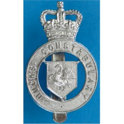 Buckinghamshire Constabulary Cap Badge 1952-1968 with Queen Elizabeth's Crown. Chrome-plated Police or Prisons hat badge