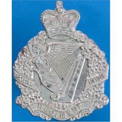 Royal Irish Regiment Badge For Waist-Belt Plate Wreathed Harp Crest with Queen Elizabeth's Crown. White Metal Stable Belt, belt-