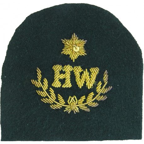 Royal Marines HW In Wreath + 1 Star: Heavy Weapons Trade: Gold On Lovat  Bullion wire-embroidered Marines or Commando insignia