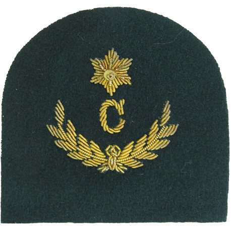 Royal Marines C In Wreath + 1 Star: Clerk Trade: Gold On Lovat  Bullion wire-embroidered Marines or Commando insignia