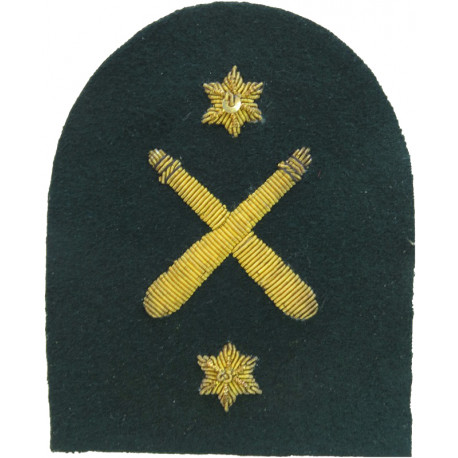 Royal Marines Crossed Clubs + 2 Stars: PTI Trade: Gold On Lovat  Bullion wire-embroidered Marines or Commando insignia