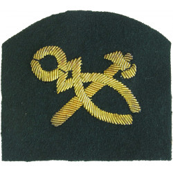 Royal Marines Tradesman (Crossed Hammer And Tongs) Trade: Gold On Lovat  Bullion wire-embroidered Marines or Commando insignia