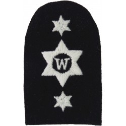 Writer (W In 6-Pointed Star) + 2 Stars Trade: White On Navy  Embroidered Naval Branch, rank or miscellaneous insignia