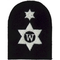 Writer (W In 6-Pointed Star) + 1 Star Trade: White On Navy  Embroidered Naval Branch, rank or miscellaneous insignia
