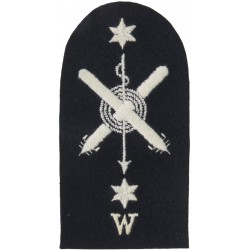 Crossed Torpedoes; Harpoon; Rope; 2 Stars + W Trade: White On Navy  Embroidered Naval Branch, rank or miscellaneous insignia