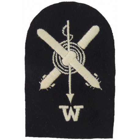 Crossed Torpedoes; Harpoon; Rope + W Trade: White On Navy  Embroidered Naval Branch, rank or miscellaneous insignia