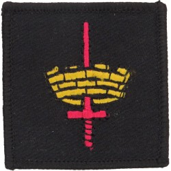 London District (Mural Crown, Red Sword On Black) Square - Modern  Embroidered Military Formation arm badge