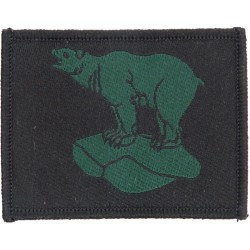 49 Brigade (Polar Bear FL Head-Up - Green On Black) 1994 Pattern - Large  Woven Military Formation arm badge