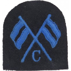 WRNS Coder (Crossed Flags) + C (1940-1948) Trade: Blue On Navy  Embroidered Naval Branch, rank or miscellaneous insignia