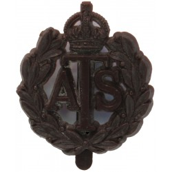 Auxiliary Territorial Service On Slider with King's Crown. Plastic Bakelite plastic cap badge