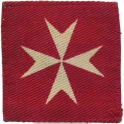 Malta Garrison (White Maltese Cross On Red Square)   Printed Military Formation arm badge