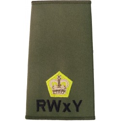 RWxY Major (Royal Wessex Yeomanry) Olive Rank Slide with Queen Elizabeth's Crown. Embroidered Officer rank badge